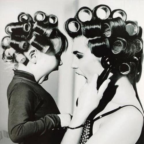 madre e hija rulos